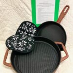 Non-Stick Cast Iron Grill and Skillet /sure grip hot pads approx $120